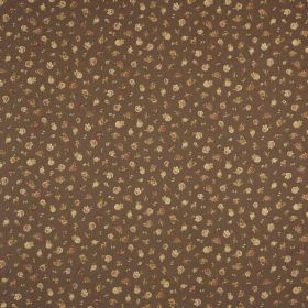 Petite English Rose - Chocolate - Tiny flowers in shades of brown and beige against a fabric background in a very dark shade of brown