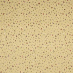 Petite English Rose - Gold - Golden yellow coloured fabric, scattered with tiny flowers in different shades of brown and grey