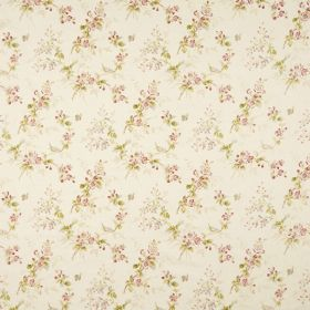 Trinity - White - A delicate pink, green and white floral design on off-white coloured fabric