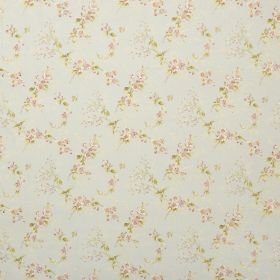 Trinity - Blue - Delicate cream and white flowers printed with green leaves on pale grey fabric in a repeated design