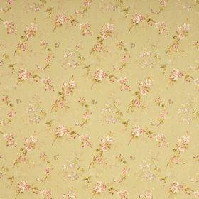 Trinity - Green - Pale green fabric printed with a repeated floral design in a delicate pink, cream and green style