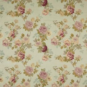English Rose - Old Blue - Pale green coloured floral print fabric, with the pattern including colours such as lavender, green, cream & dark