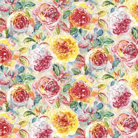 Florence - Rainbow - Fabric made from linen and viscose with a bright, busy, red, yellow, white, pink and green floral pattern