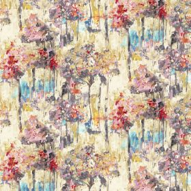 Camden - Chacoal - Grey, yellow, cream, pink and blue coloured fabric made from cotton and linen with an abstract floral effect pattern