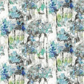 Camden - Blue - White fabric made from linen and cotton with an abstract floral effect pattern in various shades of grey, blue and green