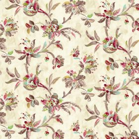 Gatsby - Cream - Brown leaves with stylish red, pink and green flowers on a cream coloured fabric background made from linen and viscose