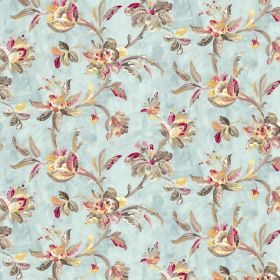 Gatsby - Duckegg - Fabric made from pale blue coloured linen and viscose with a stylish leaf and floral pattern in grey, cream and pink shades