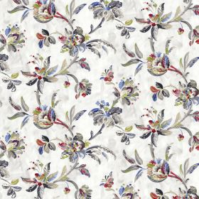 Gatsby - Chacoal - Dark grey, blue and red florald and leaves in a stylish pattern on a white linen and viscose blend fabric background