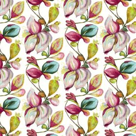 Forelli - White - Fabric made from linen and cotton in white, patterned with large shaded leaves in bright shades of green and pink