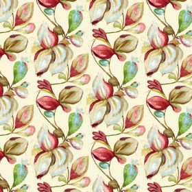 Forelli - Cream - Cream, red and green going into the large shaded leaf pattern on cream coloured fabric blended from linen and cotton