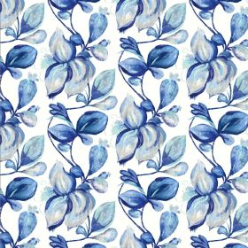 Forelli - Blue - Linen and cotton blend fabric in white covered with rows of large simple shaded leaves in various bright shades of blue