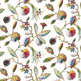 Adelphi - Rainbow - Multicoloured leaves and flowers against a cream coloured linen and viscose blend fabric background