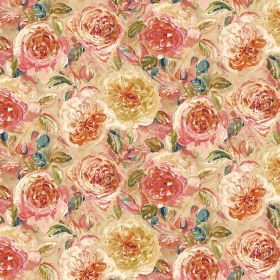 Florence - Tan - Floral patterned linen and viscose blend fabric in warm cream, gold and pink shades