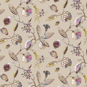 Adelphi - Stone - Fabric made from light brown coloured linen and viscose, with a floral & leaf pattern in shades of cream, brown & purple