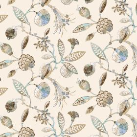Adelphi - Natural - Linen and viscose blend fabric with a pattern of leaves and flowers in various different shades of light blue and cream