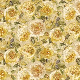 Florence - Lemonade - Fabric containing linen and viscose covered in busy flowers in various warm shades of yellow, honey and gold