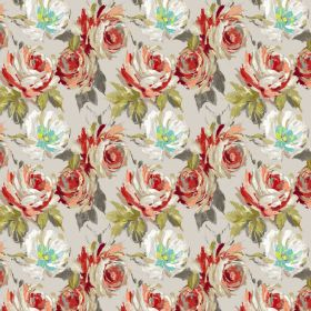 Seraphine - Russet - White, red and pink shaded flowers with green and grey leaves on abackground of white linen and viscose blend fabric