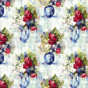 Mayfair - Red - Bright floral and vase patterned fabric made from linen and cotton, featuring colours such as red, green, blue and cream