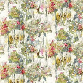 Camden - Pastel - Abstract, dripping floral effect arrangements in shades of green, yellow and red on white linen-cotton blend fabric
