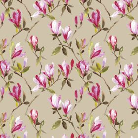Magnolia - Beige - Shaded bright pink flowers with olive green coloured leaves on a pale brown coloured 100% cotton fabric background
