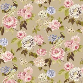 Savanna - Beige - Fabric made from linen and viscose in light brown with a pink, blue, cream, white and green flower, leaf and bird design