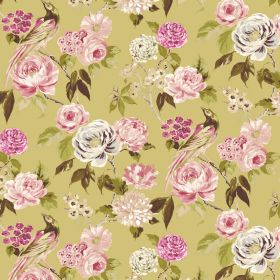 Savanna - Lemon - Linen and viscose blend fabric with a floral, leaf and bird design, mainly in shades of pink and green, with some cream