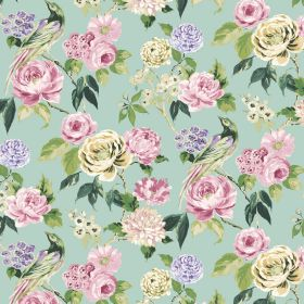 Savanna - Duckegg - Pastel coloured fabric made from linen and viscose with pink, purple and cream flowers and birds and green leaves
