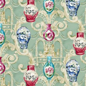 Dynasty - Duckegg - Pale green linen-viscose blend fabric with a large cream pattern, covered with small vase designs in reds and blues