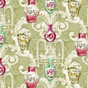 Dynasty - Sage - Fabric made from ornately patterned linen and viscose in cream and green, with small vases in red, gold and aqua colours
