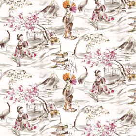 Miyako - Ivory - Outdoor Oriental style designs featuring people and birds in brown, pink and orange on white linen-cotton blend fabric