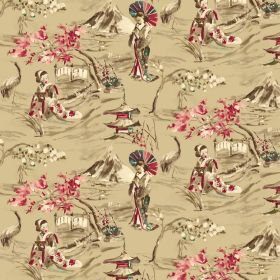 Miyako - Beige - Rich gold, cream and red coloured linen-cotton blend fabric with Oriental style designs of people, birds and buildings