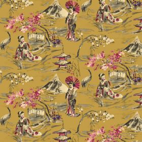 Miyako - Mustard - Gold coloured fabric made from linen and cotton behind an Oriental style design in cream, grey and pink shades