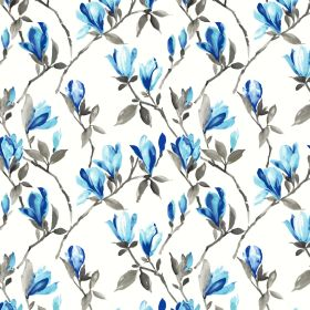 Magnolia - Blue - 100% cotton fabric in white with a floral pattern in shades of bright blue and with light grey leaves