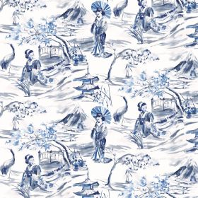 Miyako - Ink - Elegant China-like blue and white Oriental style outdoor scenes patterning fabric containing a mix of linen and cotton