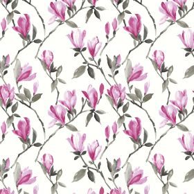 Magnolia - Cerise - Floral patterned 100% cotton fabric in shades of bright pink with some grey on a bright white background