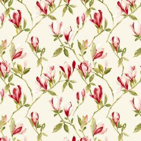 Magnolia - Cream - Fabric made entirely from cotton in white, featuring a shaded floral design in tones of red and green