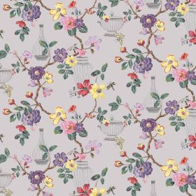 Cassia - Grey - Floral, leaf and vase patterned linen-viscose blend fabric, mostly in shades of purple but with some yellow and red