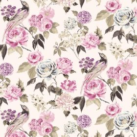 Savanna - Ivory - Shades of pink, purple, grey and beige making up a floral and bird pattern on a white linen-viscose blend fabric background
