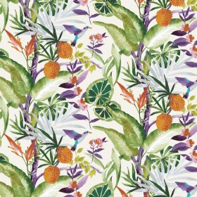 Madagascar - Ivory - Ivory linen and viscose fabric decorated with colorful plants