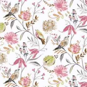 Honolulu - Ivory - Elegant rosy design featuring birds and flowers on cotton and linen fabric