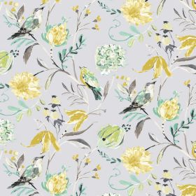 Honolulu - Natural - Colorful nature design on light blue cotton and linen fabric