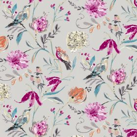 Honolulu - Taupe - Taupe fabric made from linen and cotton with colorful exotic bird motif