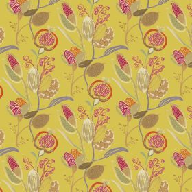 Mystical - Indian Yellow - Yellow linen and viscose fabric decorated with colorful floral design