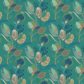 Mystical - Teal - Teal fabric made from linen and viscose featuring floral pattern in nude colors