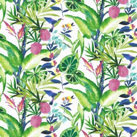 Madagascar - Tropical - Tropical plant design on linen and viscose fabric in white