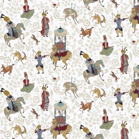 Xerses - Ivory - Fabric made from linen and viscose in color ivory decorated with a colorful motif