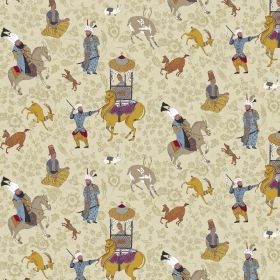 Xerses - Sand - Linen and viscose fabric in sand featuring colorful horses motif