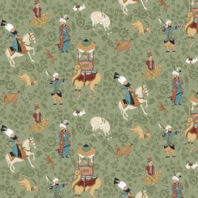 Xerses - Moss - Green fabric made from linen and viscose with a oriental horse pattern