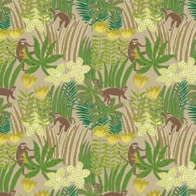 Jungle - Emerald - Beige fabric made out of linen and viscose featuring jungle design