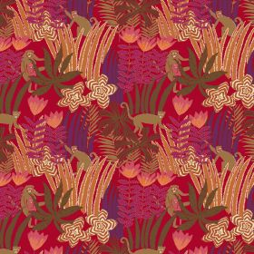 Jungle - Red - Red linen and viscose fabric featuring brown monkeys and grass